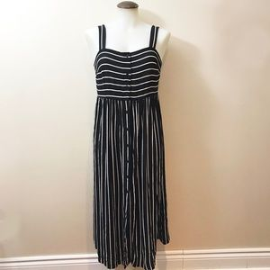 Black & White Stripe Woven Maxi Dress With Buttons